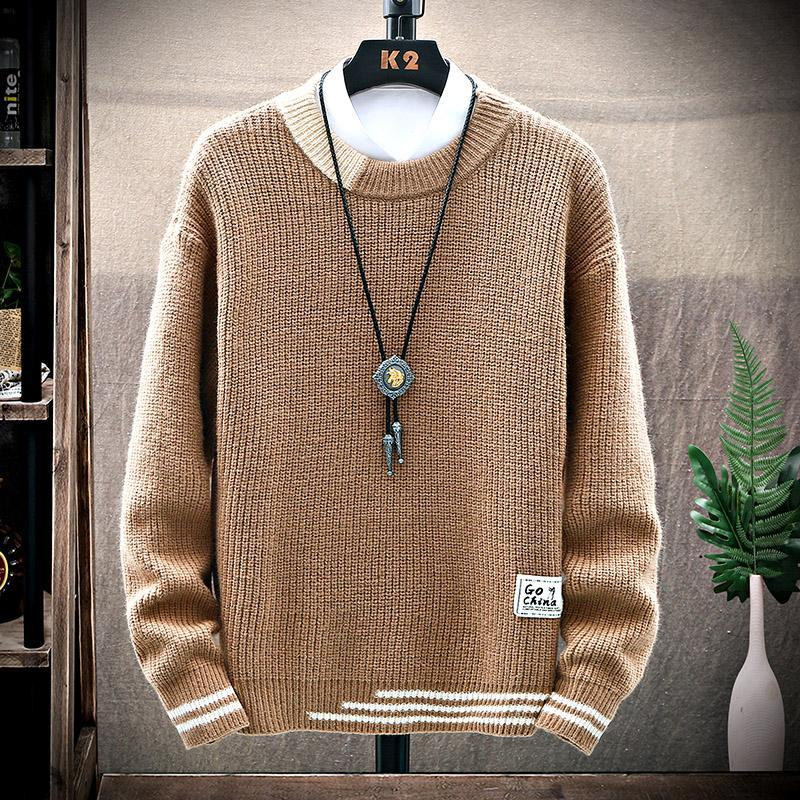 Light Luxury Winter Sweater Men's Korean Version of The Trend of Solid Color Sweater Loose Autumn and Winter Round Neck