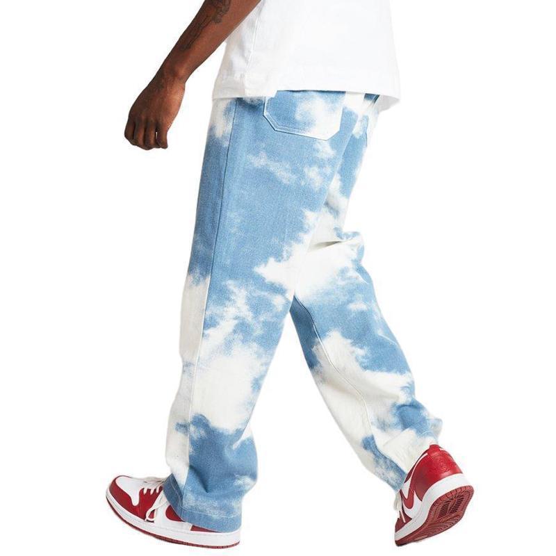 2020 Yeni Erkekler Jeans Tie-boya Baskı Düz Jeans Motosiklet Denim Pantolon Sokak Casual Erkek Hip-hop Yıkanmış