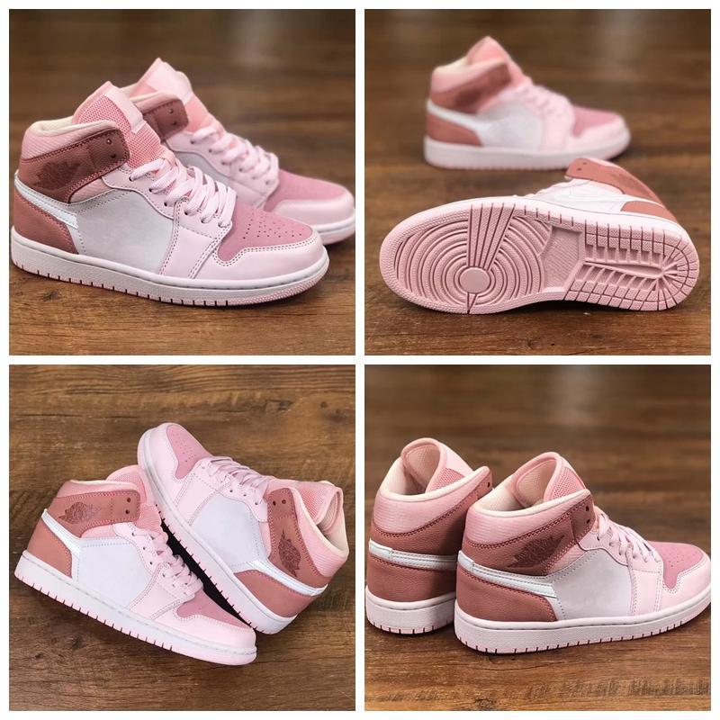 New Hot 1 Mid WMNS numérique Rose Sneakers 2020 Chaussures de basket-ball Designer Filles Paniers 1s des chaussures Zapatos Taille 36-39