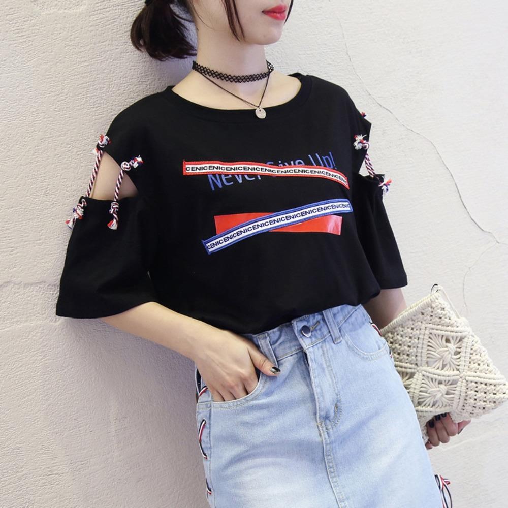2020 mode d'été l'impression irrégulière Hong Kong le style évider à manches courtes T-shirt T-shirt étudiant lâche et mince de féminin 7g4a