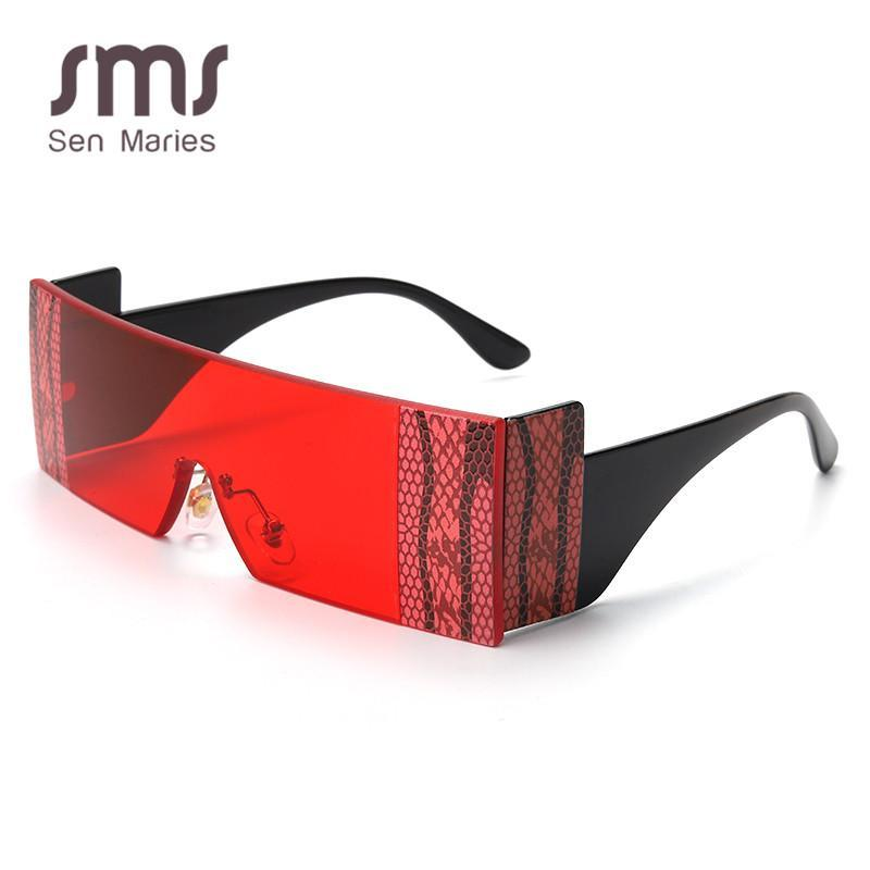 Vintage Rimless Sunglasses Women 2020 Oversized Square Sun Glasses Retro Eyewear Red Black Unique Frames Shades