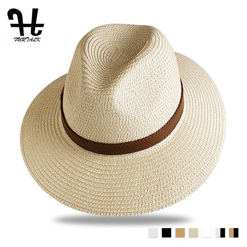 Cappello di paglia FURTALK estiva, da uomo Sun Beach Cappello donna Uomini Jazz Cappelli di Panama Fedora larga del bordo protezione del sole di protezione con cintura in pelle