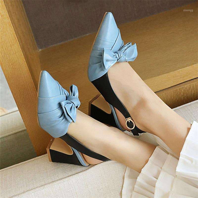 Slingback Tacchi alti da donna scarpe da donna 2020 punta a punta Pompe donna blocco tacchi bowl dress party signore scarpe blu1