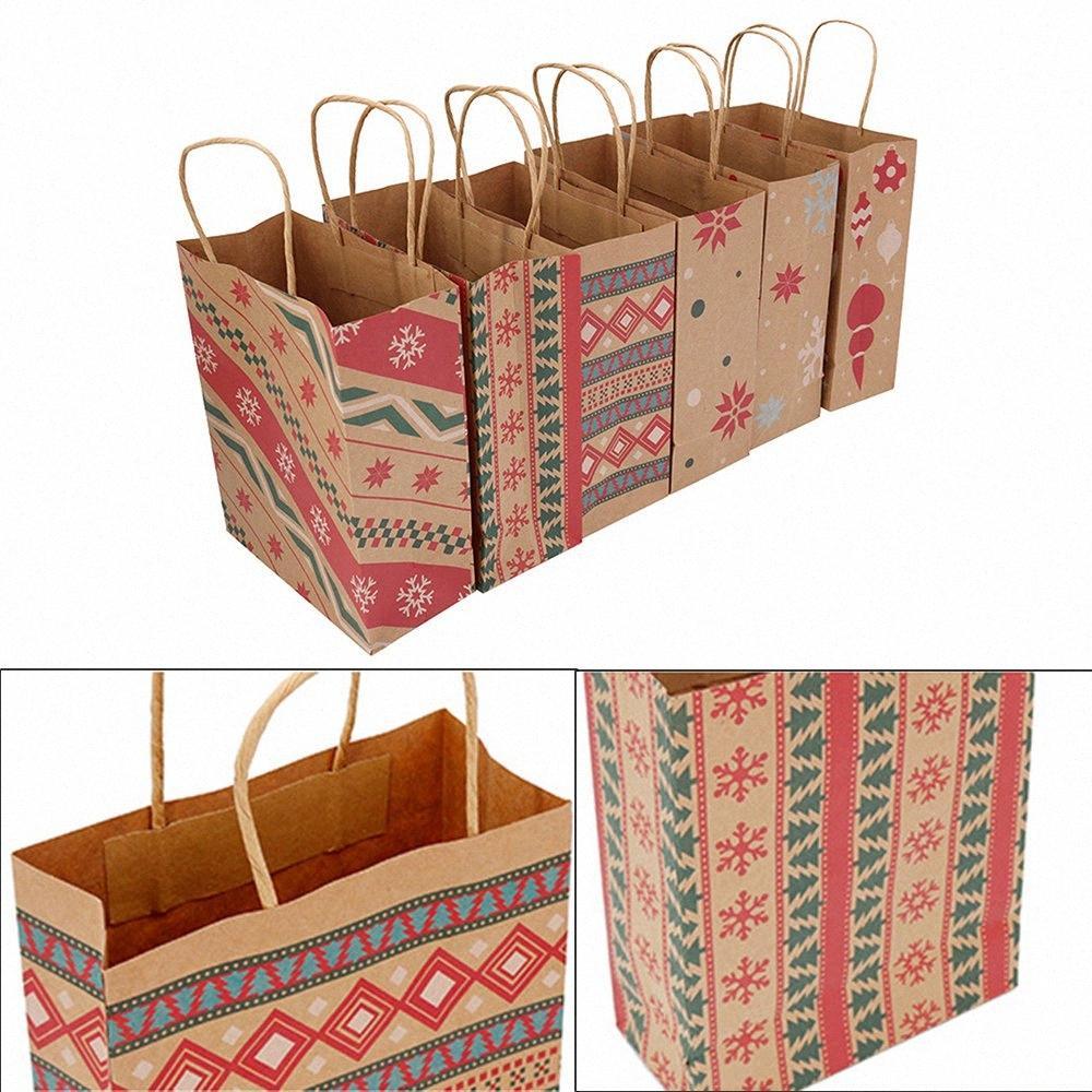 6/12 шт Рождество подарочные пакеты Kraft Paper Bag Kids Party Благоприятная Box рождественские украшения конфеты подарочные пакеты 3aXZ #