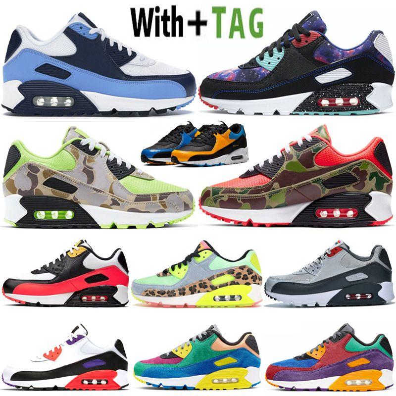 2020 Yastık 90 OG UNC BRED Erkek Koşu Ayakkabıları Tasarımcı Camo Kırmızı Turuncu Yeşil Viotech Volt Klasik 90 S Spor Eğitmenler Kadın Sneakers 36-45