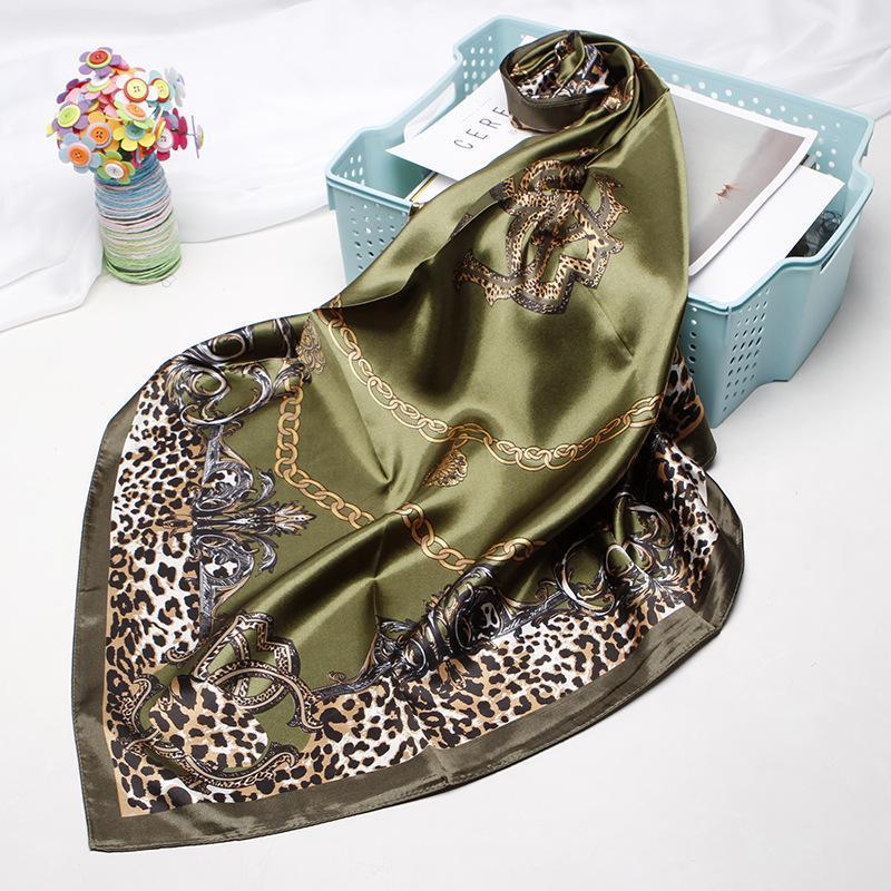 Große Hijab-Schals für Frauen-Mode-Druck-Seiden-Satin-Schal weibliche 90cmx90cm Square Tücher Kopfschals für Damen