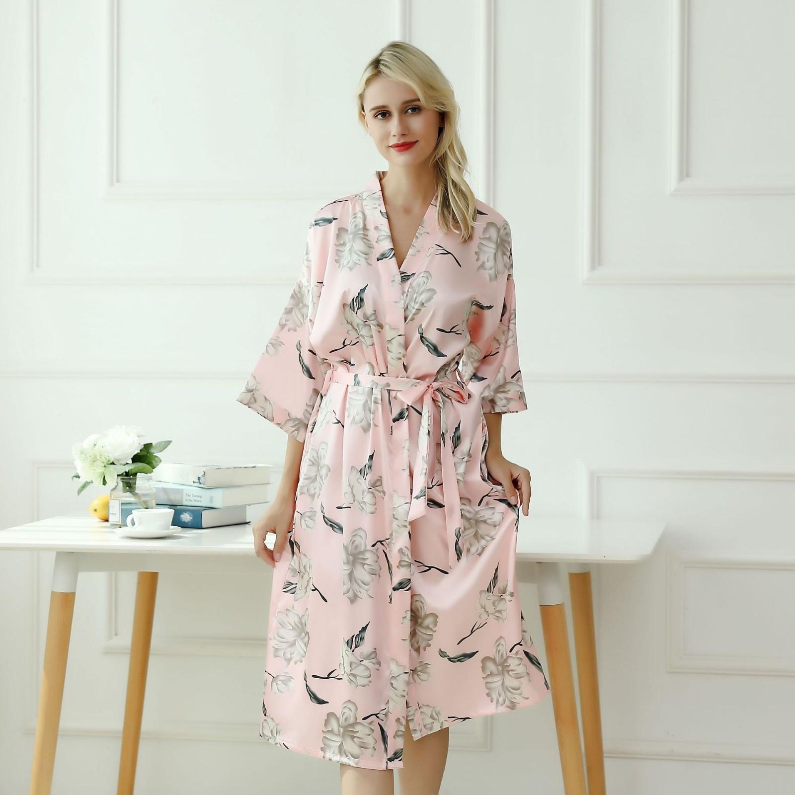 Nupcial del partido de la ropa de noche de satén suelta íntima femenina ropa interior ocasional sedoso vestido de kimono Albornoz regalo del traje atractivo del camisón Homewear