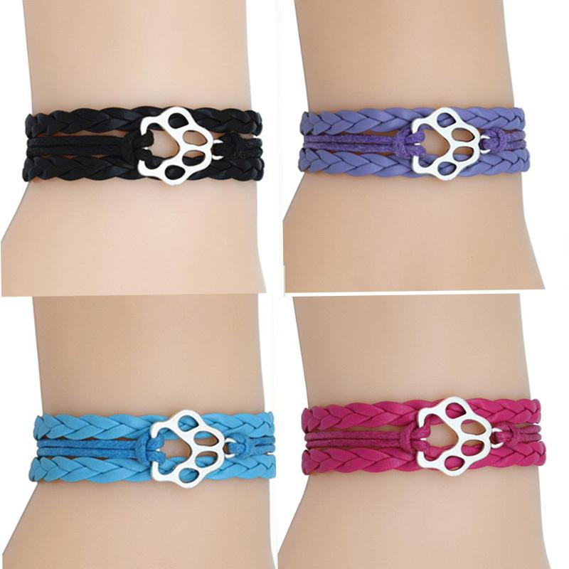 Sliver Paw Charm Wrap Braid Bracelets de patte de chien Imprimer Bracelet en cuir Multilayer Stacking Femmes Hommes Bracelets Bijoux