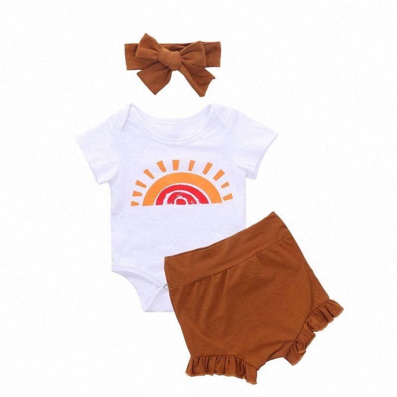 0-24M Newborn Toddler Baby Girl Cute Rainbow T-Shirts Tops + Ruffled Shorts + Bow Headband Summer Outfits Hpwt#