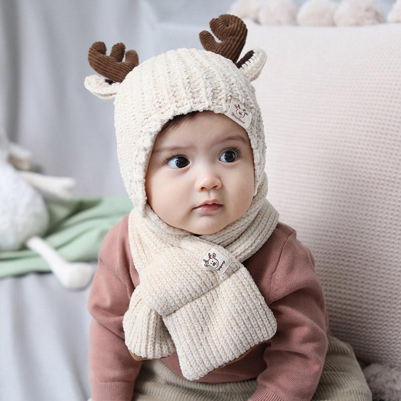 Chapeau bébé écharpe Garçons Filles Hiver chaud tricot écharpe Cartoon oreille Elk Design Chapeau de bébé en coton col Cap établit un nouveau
