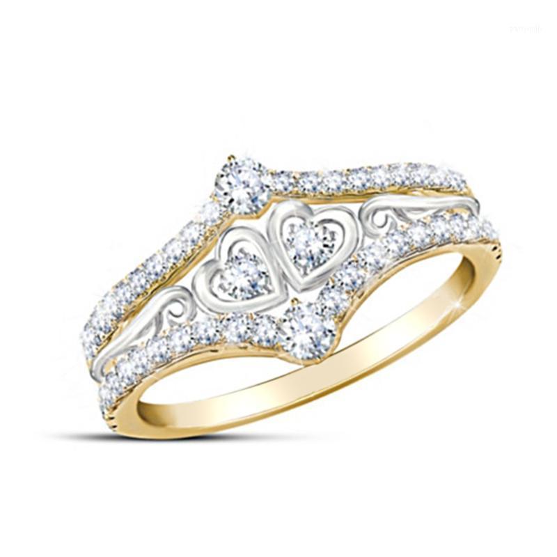 Anéis de casamento amor anel feminino jóias doces romântico incrustado zircon strass cor prata cor coração senhora aniversário presente1