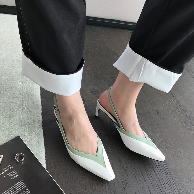 Mode Femmes Sandales Toe Mules Chaussures Pointu Retour Boucle Bracelet talons de couleur mixte Mid mince Sandales Robe d'été Chaussures Femme