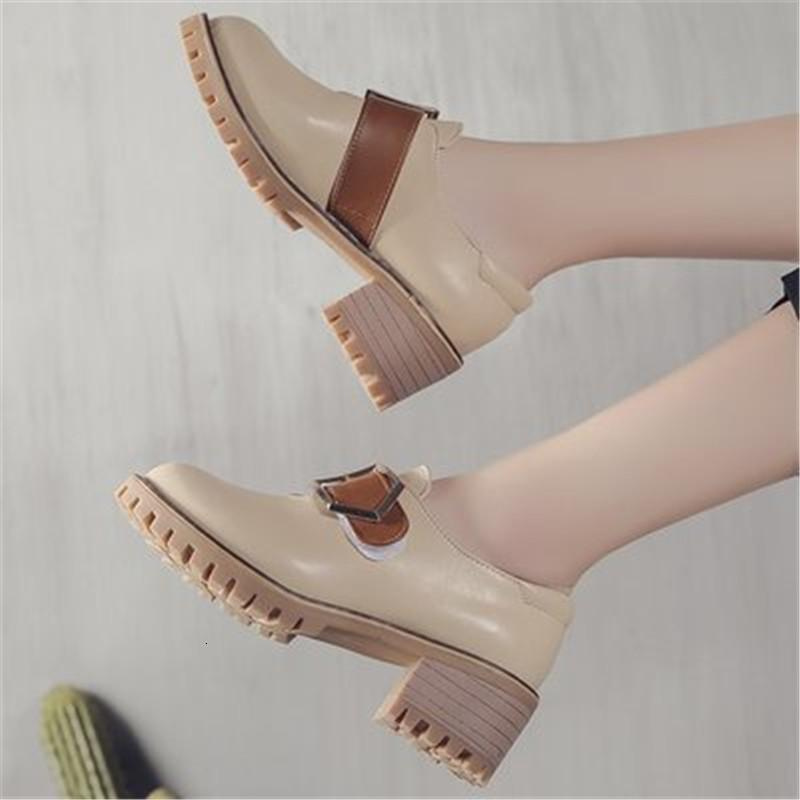 2021 Neue Frühling Herbst Britische Stil Lässige Leder Mode Frauen in krummen Metallgetriebe Runde Fuß Weibliche Schuhe Oxford PFCY
