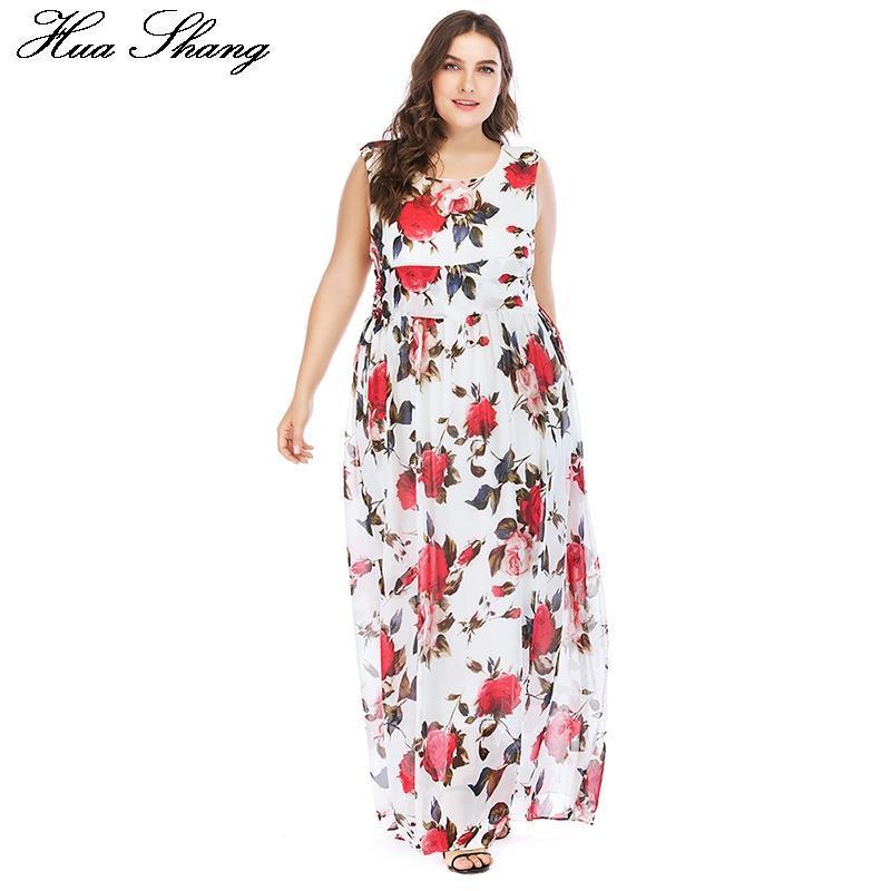 Günlük Elbiseler Huashang Baskı Kadın Boho Sundress Büyük Boy Beyaz Çiçek Tankı O-Boyun Bel Bağları Zarif Uzun Bohemian Beach Şifon Maxi Dr