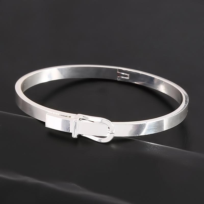 Belt Buckle Design Bracelet Femme 2 Colors Gold/Silver Stainless Steel Punk Adjustable Cuff Bracelets Bangles Lady Jewelry