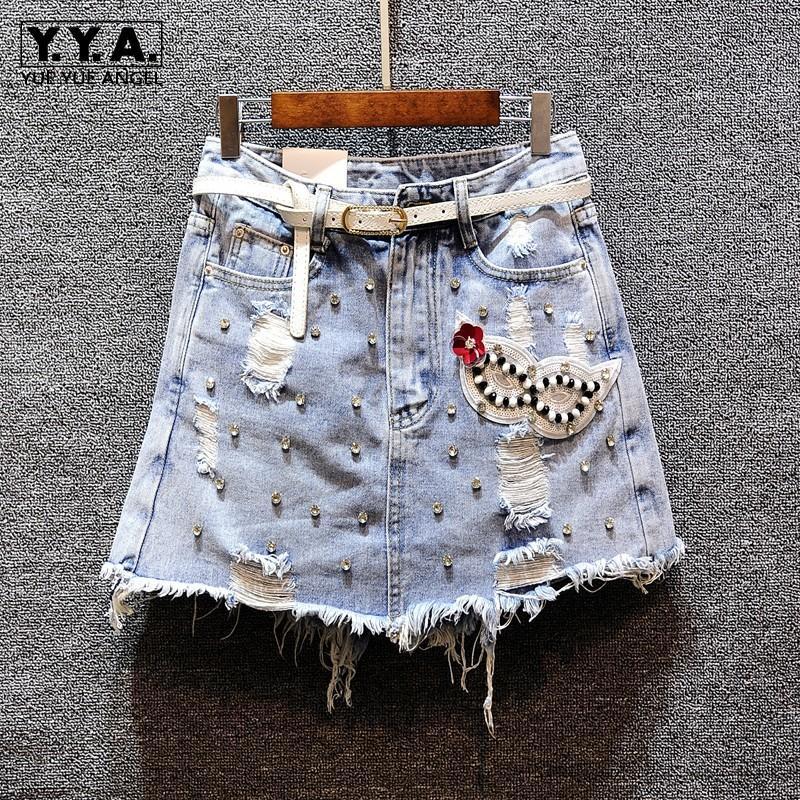 Delik Boncuk Denim Pullarda Çiçek Kadınlar Yaz Yeni Rhinestones A-line Jeans Mini Kısa Etek Yüksek Bel Püsküller