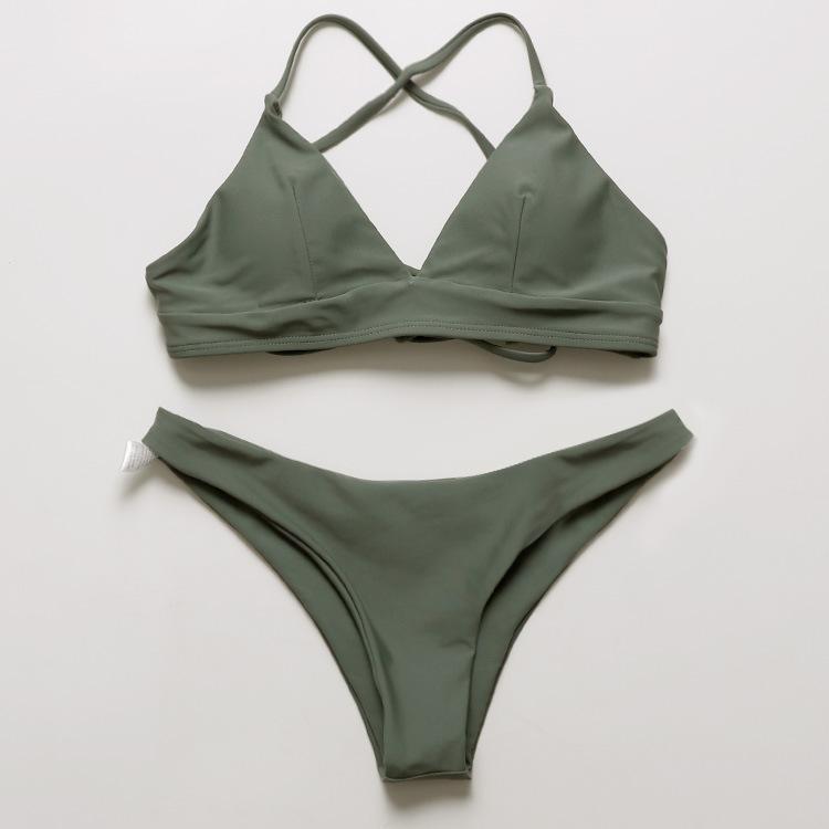 2020 Çok Halat Sıska Yüzme Takım Elbise Seksi Bikini Mayo Kadın Ordu Yeşil Iki Parçalı Set Bikini 1005