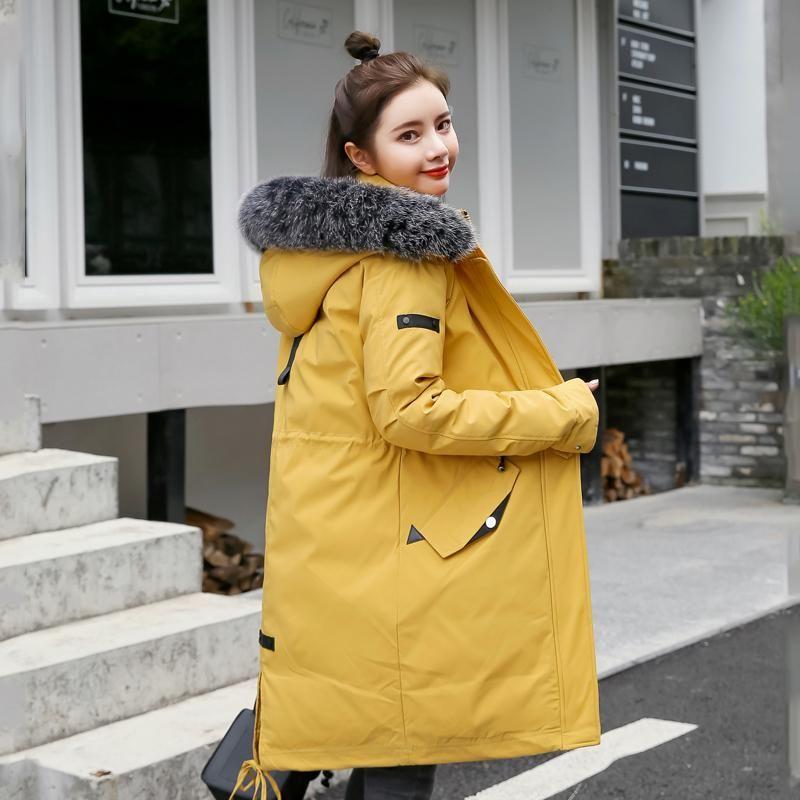 2020 Nuovo design giacca invernale donne in cotone imbottito di stile coreano rivestimenti del cappotto femminile delle donne del collare pelliccia piumino zip