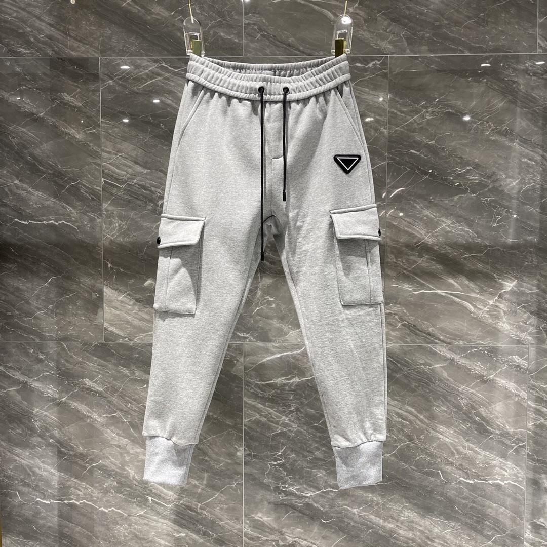 20SS Hosen Männer Europe Mode Trend Hosen für Männer Klassisches Gitter Gurtband Paar Terry Stoff mit Gitterstichhose
