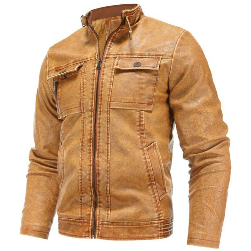 Männer 2020 Frühling beiläufige Motor PU-Leder-Jacken-Mantel-Männer Herbst Outwear Fashion Punk Style Lederjacke 80020