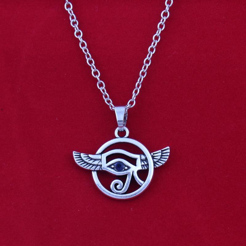 Jóias Trends antigo voado prata Olho de Horus Pendant com colar de strass azul colares pulseira de trigo