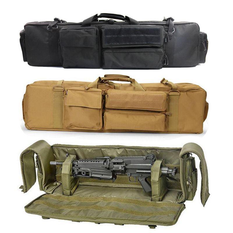 Martilleta Militar Airsoft Gun Bag Double Rifle Mochila para M249 M16 Ar15 Bolsa de rifle de caza Bolsa de protección de la pistola de carabina 201022