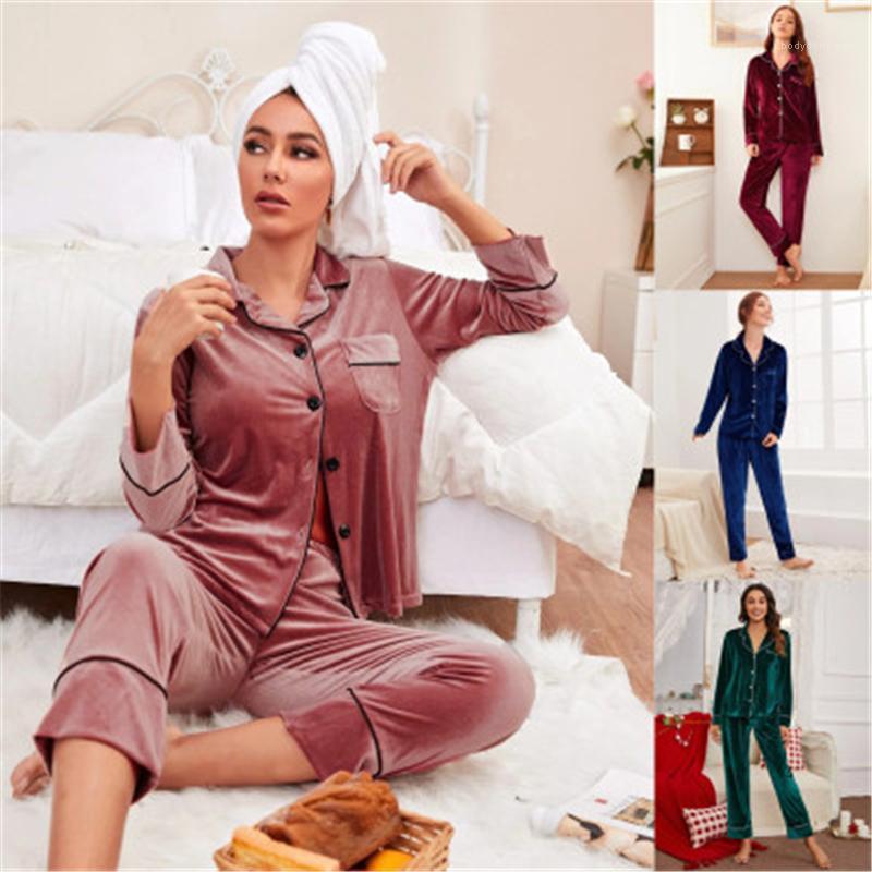 Hosen 2 stücke Anzüge Weibliche Frühling Neue Casual Lose Nachtwäsche Womens Solide Farbe Pyjamas Sets Mode Trend Goldene Samt Langarm Tops