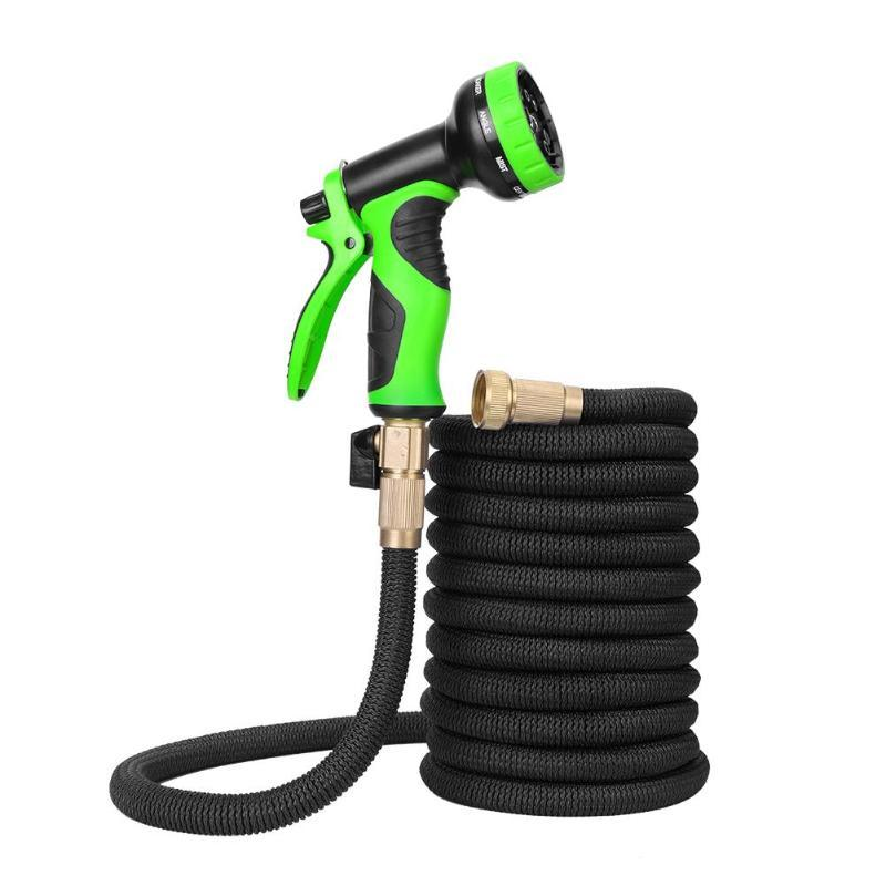 25-100FT Expandable Water Pipe Garden Hose Plastic High Pressure Household Car Wash Water Gun Watering Lawn Set