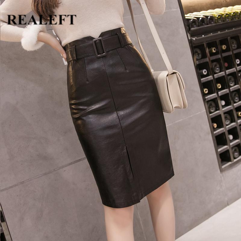 REALEFT 2020 Autumn Winter OL Elegant Pencil Midi Skirts High Waist Black PU Leather Split Sheath Wrap Skirts with Belt Female C1111