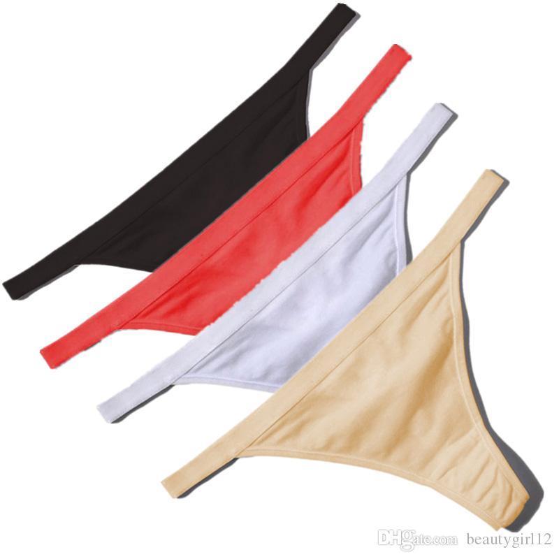 NEW Hot Sale Sexy Women Cotton G String Thongs Low Waist Sexy Panties Ladies' Seamless Underwear Black Red White Skin