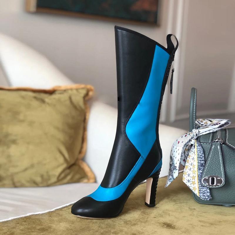 Mujeres Match Colors Mid Becerta Botas Extraño Tacón alto Atrás Zapatos de moda Zapatos de moda Sexy Fashion Zapatos Para Mujer Nuevo 2020