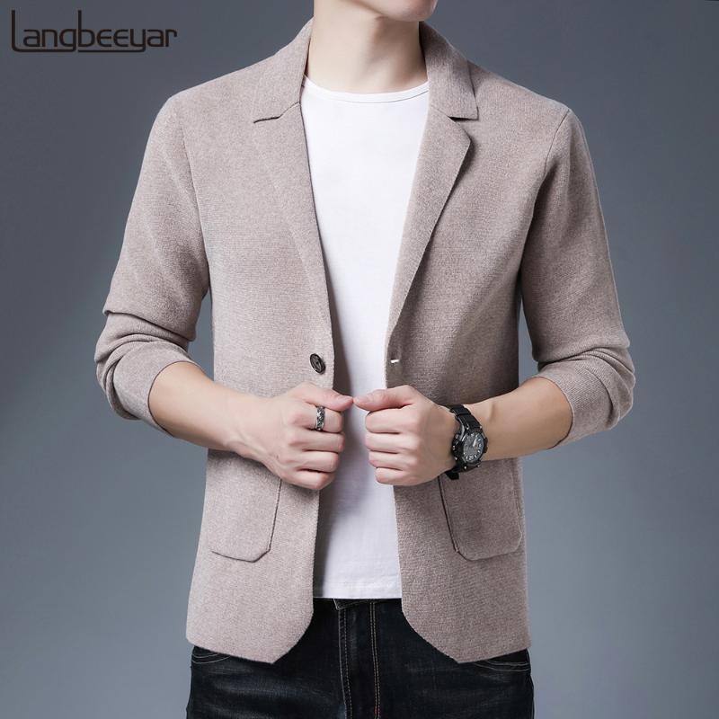 2020 ocasionales de los nuevos del estilo de la marca de moda de tendencia de ajuste delgado coreano trajes de hombre casual beige clásica chaqueta Blazer Abrigos Ropa