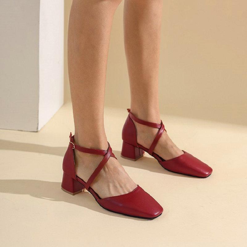 Sandalias Sianie Tianie 2021 PU Summer Red White Black Cross-Strap Womens Chunky Heels Shoes Mary Janes Mujer grande Tamaño 47 48 49 50