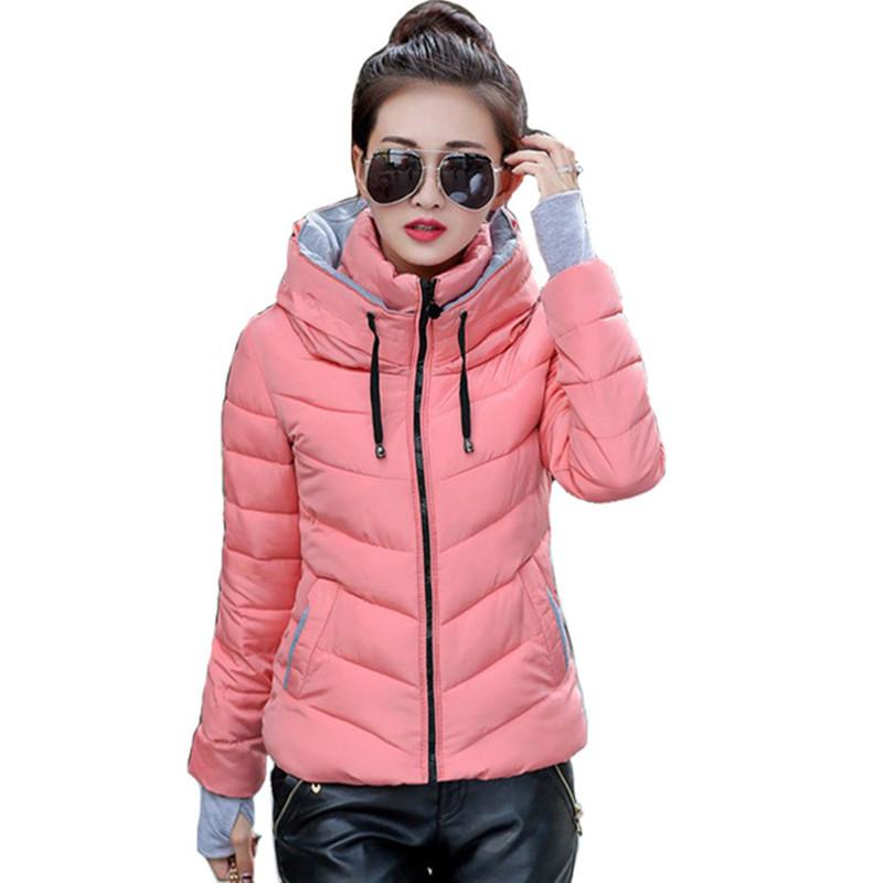 hooded women winter jacket short cotton padded womens coat autumn casaco feminino inverno solid color parka stand collar 201016