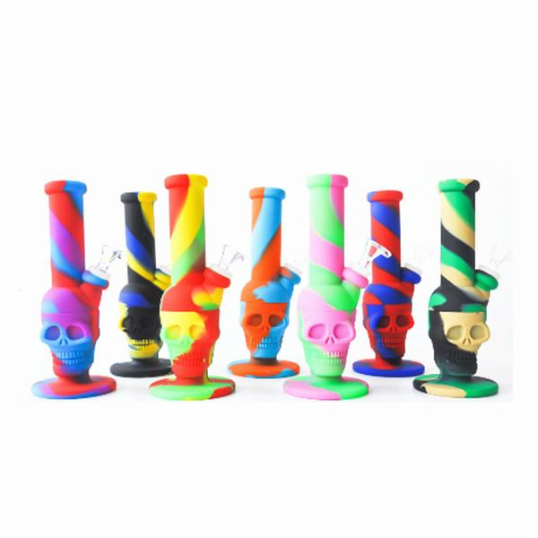 Silicone Bongs Skull shape water pipe water oil smoking heady beaker Dab Rigs Percolators Perc Removable Straight With Glass Bowl