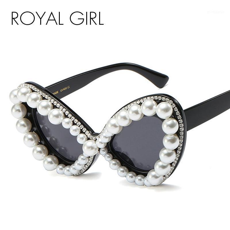 Royal Girl 2020 New Mode Butterfly Perle Lunettes de soleil Diamant Femmes Vintage Sun Lunettes Cat Eye Eye Eyeglasses SS6751