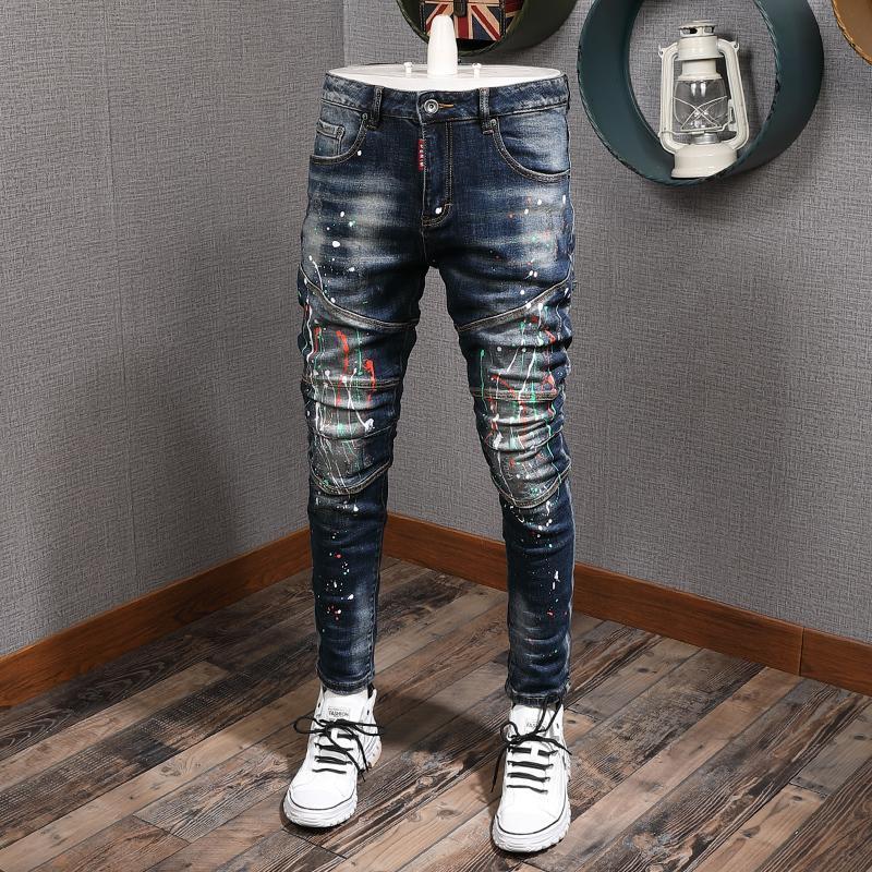 Moda Streetwear alta qualità Slim Fit della vernice Designer uomini elastici Hip Hop pantaloni impiombato Biker Jeans Homme