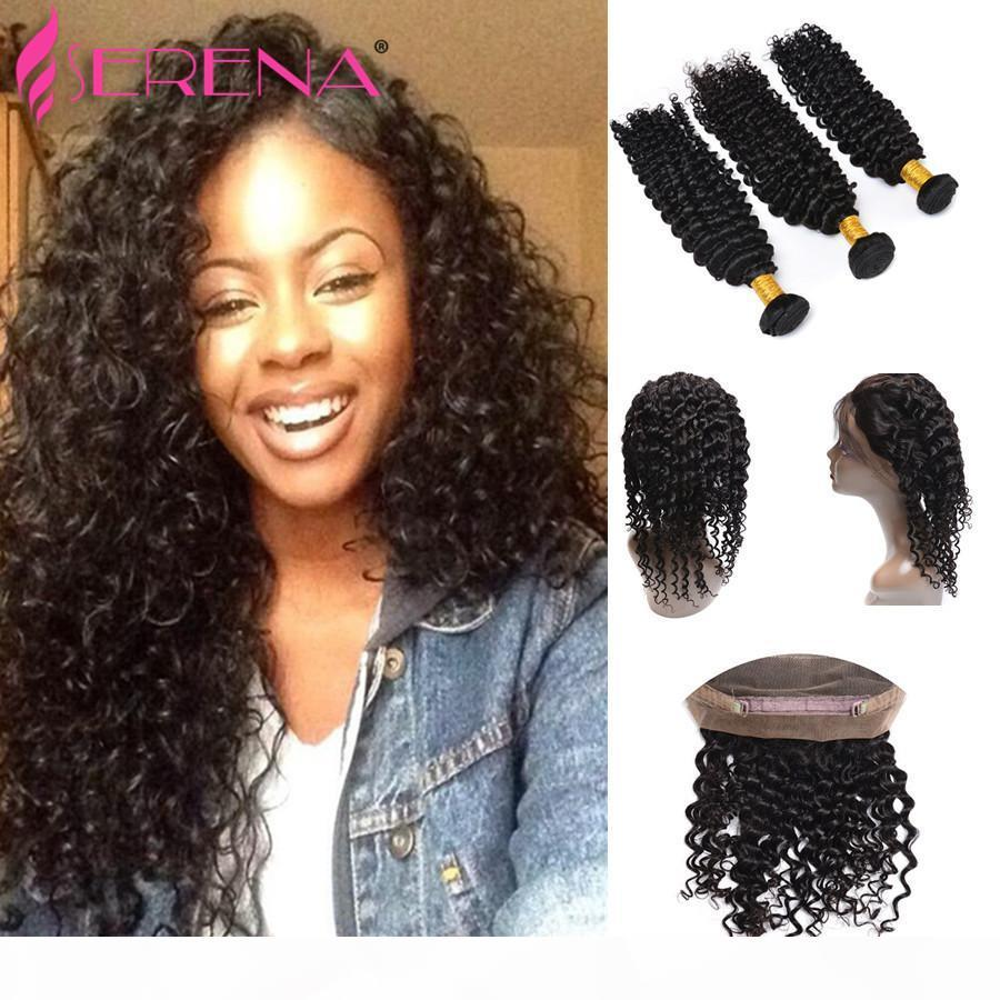 360 Lace Frontal With Bundle 360 Closure With Bundles Deep Wave With Frontal Closure Indian Virgin Hair 3 bundles And Lace Closure