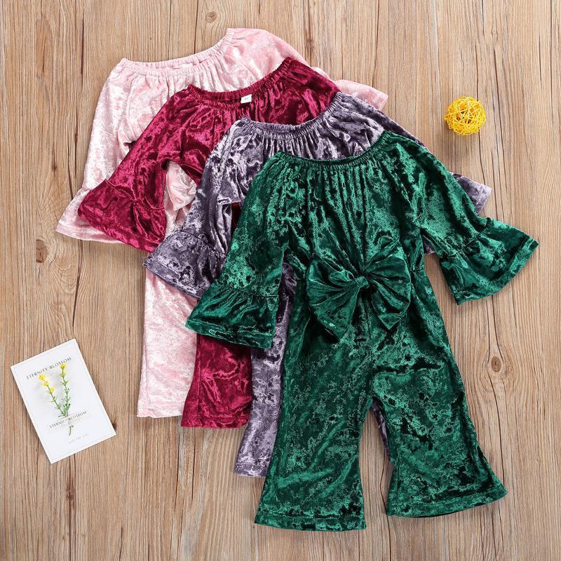 1-3y primavera otoño bebé niñas flare manga mameluco recién nacido infante fuera del hombro bowknot terciopelo de terciopelo mono mono trajes