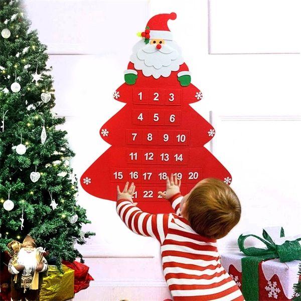 Felt Christmas Advent Calendar with Pocket Hanging Ornaments Christmas Decorations For Home Xmas Navidad New Year Decor Kid Gift
