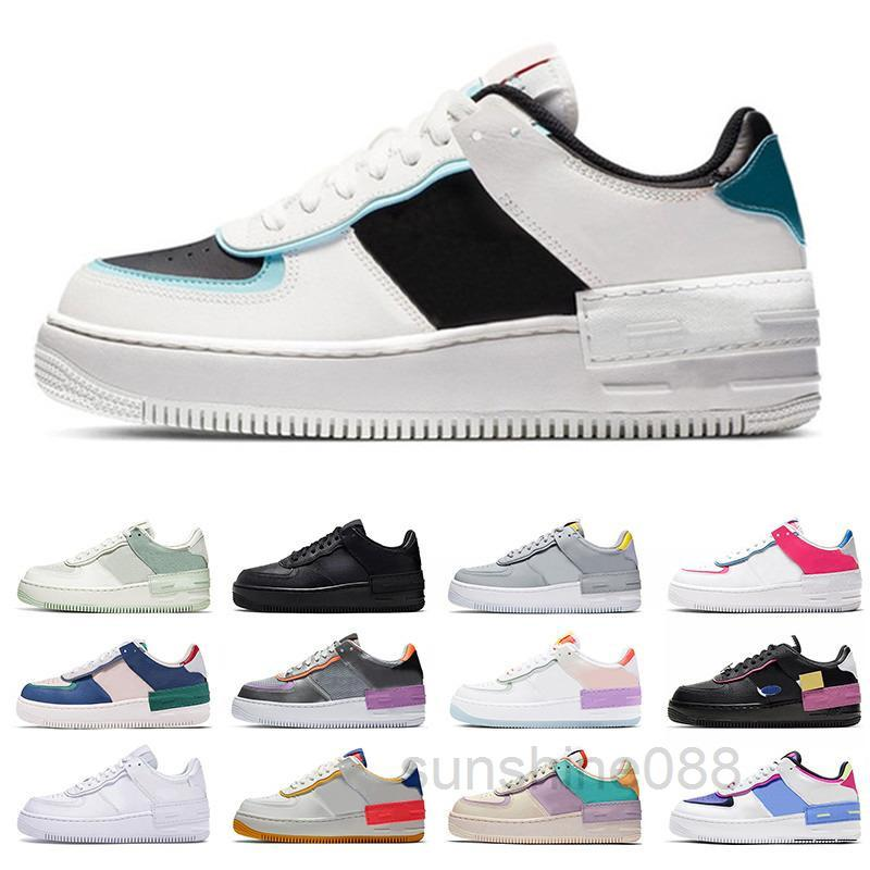 Force 1 Low Shadow 2020 MCA Casual Zapatos Al Aire Libre Zapatos Utility All Black Sport Blue Shadow Tropical Twist Dunk Mens Womens White Sneakers Black con DCV3