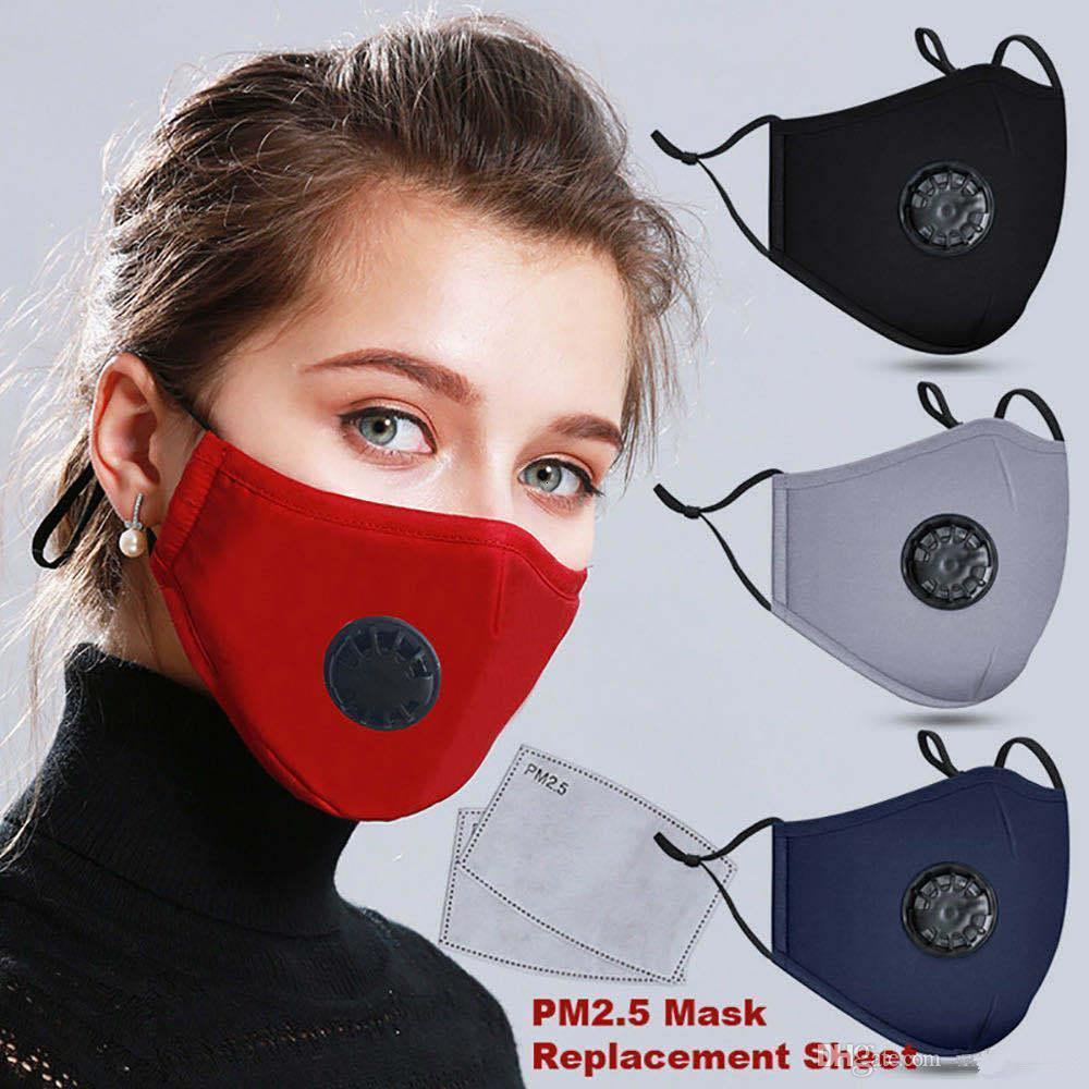 US Lager! Maske Anti-Staub-Wiederverwendbare PM2.5 mit 2 Siebfilterventil Schutz Baumwolle Kind-Kind-Gesichtsmasken Tuch waschbaren