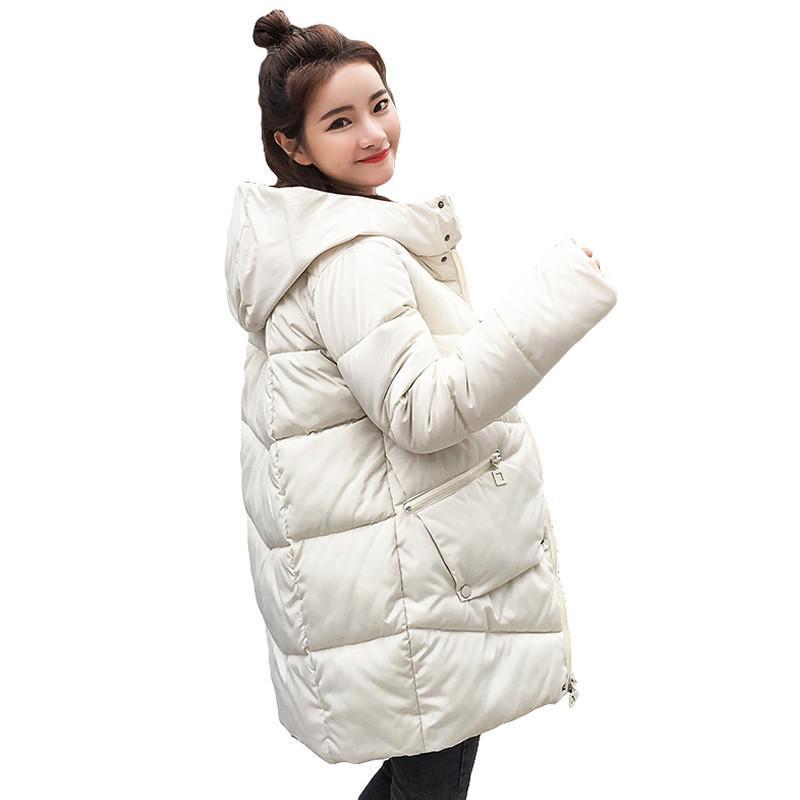 Gruesa tibia con capucha larga hacia abajo parkas mujer abajo chaqueta abrigo de invierno algodón acolchado chaqueta mujer chaqueta de invierno abrigo mujer lj201021