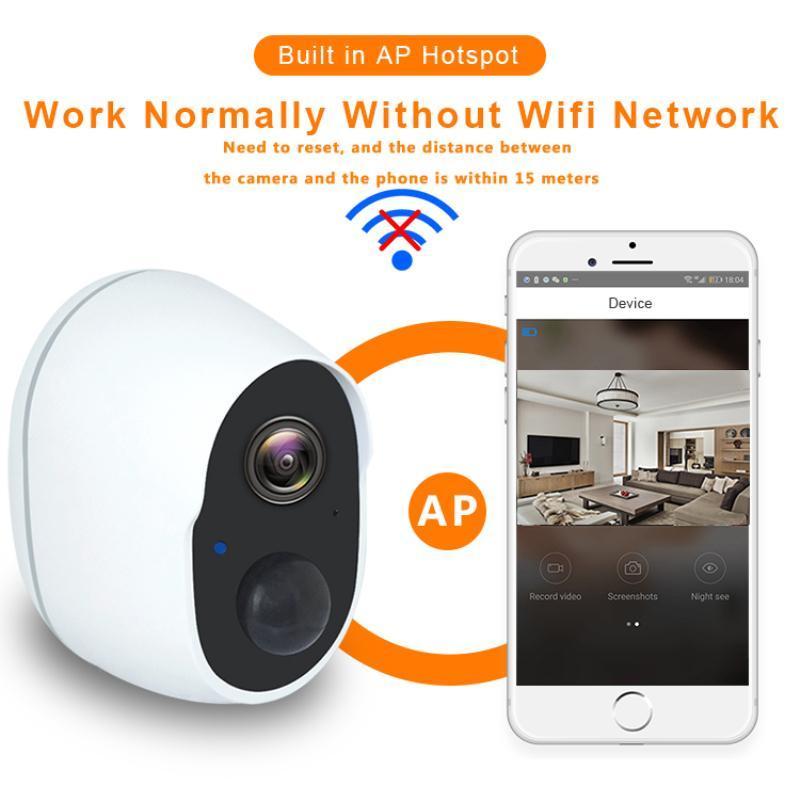 كاميرات الفيديو الكاميرا اللاسلكية بطارية قابلة للشحن الأمن الأمن في الهواء الطلق واي فاي 1080P المستهلك