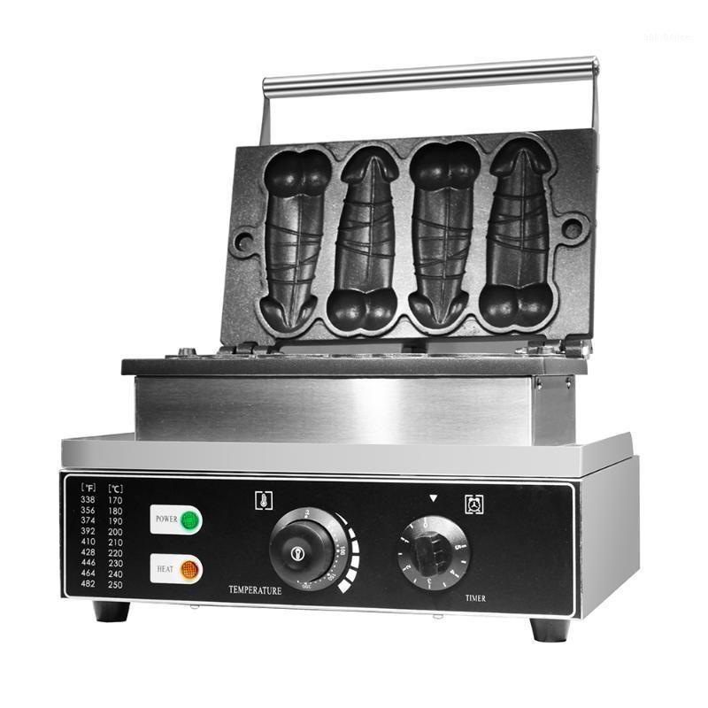 Хлебные производители Коммерческое использование Non-Stick 110V 220V Электрический Penis Waffle Maker 4 шт.