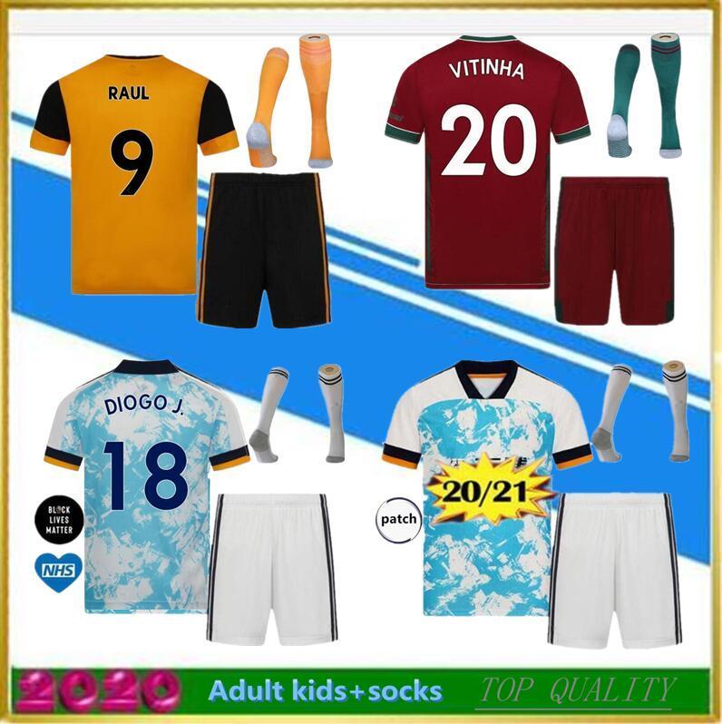men kids kit+socks 2020 2021 RAUL Wolves Soccer Jerseys 20-21 COADY CAMPANA PODENCE DIOGO NEVES Soccer Shirt OTTO ADAMA Football Shirt