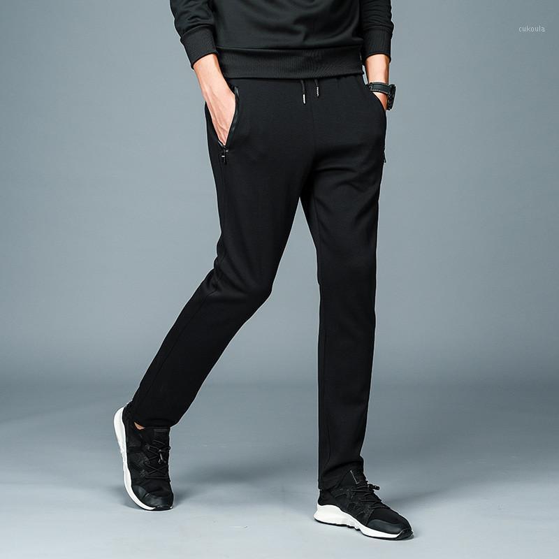 Мужские штаны MRMT 2021 бренд мужские брюки хлопковые брюки мужские большие дворы культивировать чистый цвет вязаный черный для прямых брюк