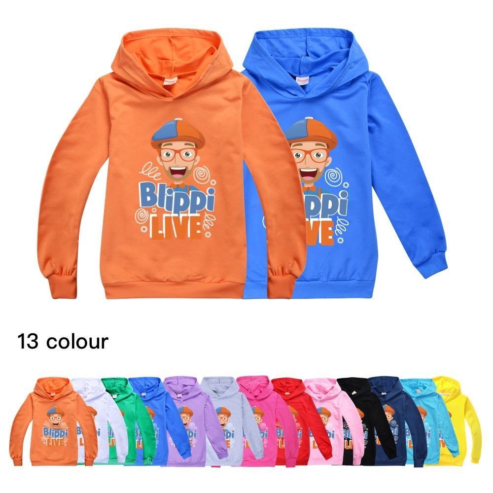 Meninas Tops Crânio manga comprida T-shirt de algodão bonito BLIPPI Meninos shirt Queda Big T Shirt Adolescentes moletom com capuz Criança T-shirt 1006