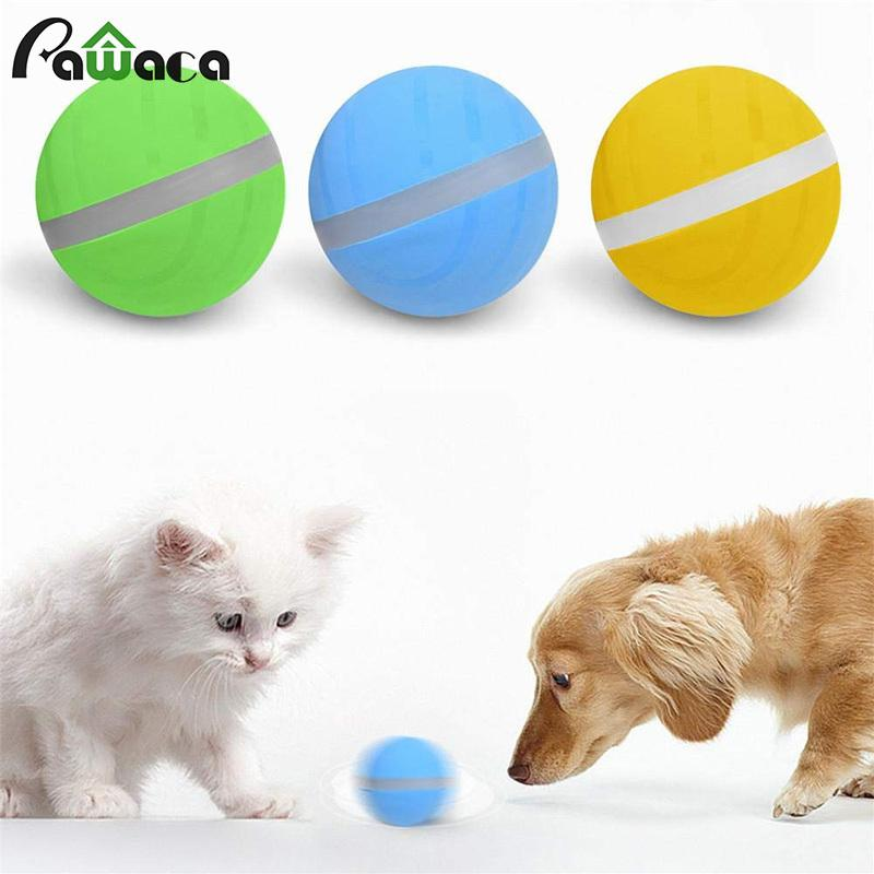 Active Jump Ball Dog Toy USB Electric Pet Ball LED Rolling Flash Elastic Ball Cat Automatic Roll Fun Interactive Toy Waterproof LJ201028