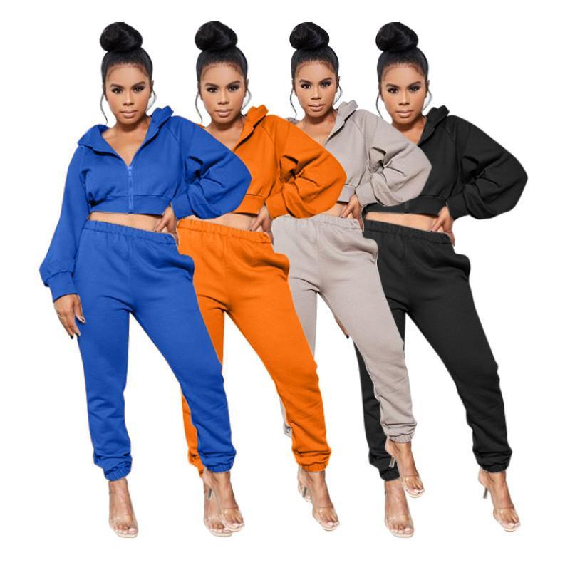 21FW LOOSW SOILD Renk Bayan İki Parçalı Pantolon Rahat Hırka Eşofman Tasarımcısı Kapüşonlu Spor Bayan Giyim